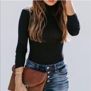 Vici Sweaters - VERSATILE RIBBED TURTLENECK BODYSUIT - BLACK